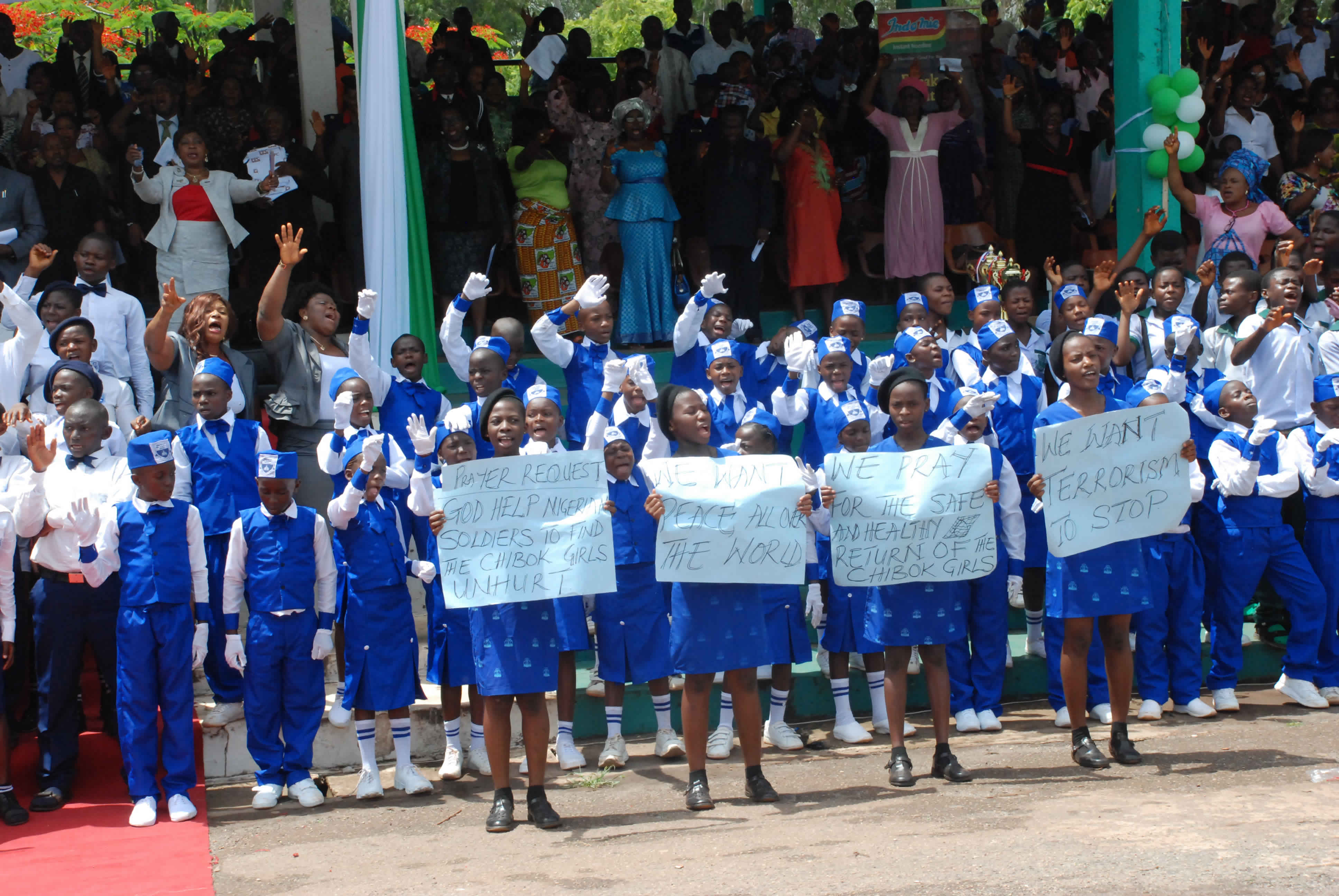 Primary and Secondary Schools Children in Enugu State praying for the release of the abducted Chibok girls, during the Children's Day celebration in Enugu