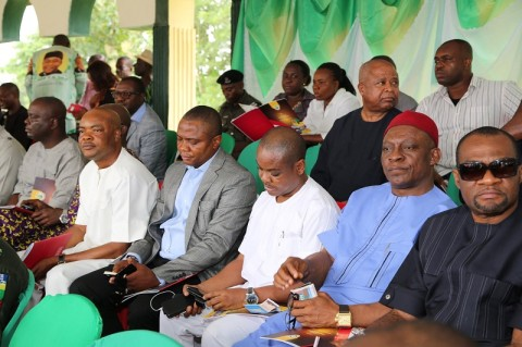 Cross section of some members of the state house of assembly during the 2014 youth empowerment programme for Arochukwu, Ohafia and Bende at Bende Local Government headquaters in Bende LGA.