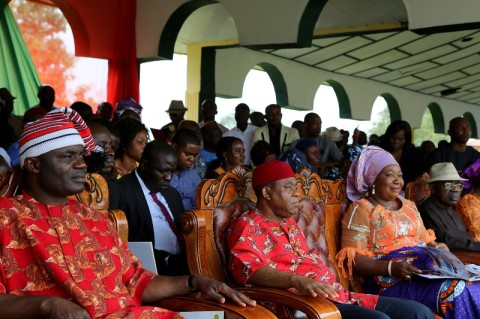 L-R Rt.Hon. Ude Okochukwu, speaker, Abia state house of assembly, Abia state governor, Theodore Orji, his wife Mercy Orji and Sir Emeka Ananaba deputy governor during the 2014 youth empowerment programme for Arochukwu, Ohafia and Bende at Bende Local Government headquaters in Bende LGA.