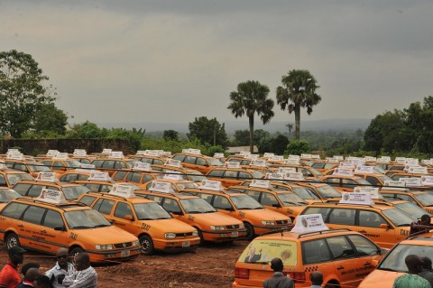 Cross section of some of the 200 vehicles procured for the youth empowerment programme of Arochukwu, Ohafia and Bende at Bende Local Government headquaters in Bende LGA.