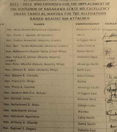 Nasarawa Impeachment: The Document With Signatures