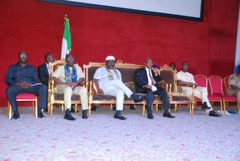 Gov Rochas Okorocha with Sir Jude Ejiogu, Chief of Staff and Mr Calistus Ekenze the Head of Service during an interactive session with Imo civil servants at Imo International Conference Center, Owerri recently