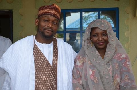 Mohammad Sagir With His Wife Former Miss Amina Giade After  The Marriage In Giade Town