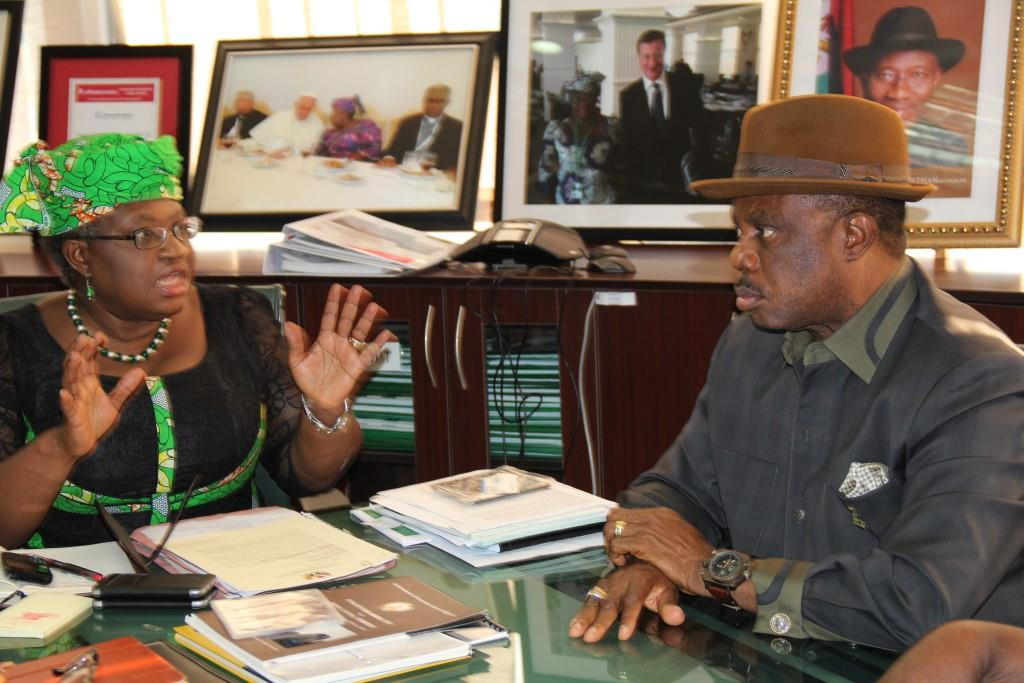 Dr. Mrs Ngozi Okonjo Iweala, Minister of Finance and Coordinating Minister of the Economy and Chief Willie Obiano, Governor of Anambra State during the Governor's courtesy visit to the Ministry in Abuja...Thursday