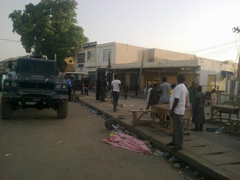 POLICE MEN AT THE SCENE OF THE BOMB BLAST