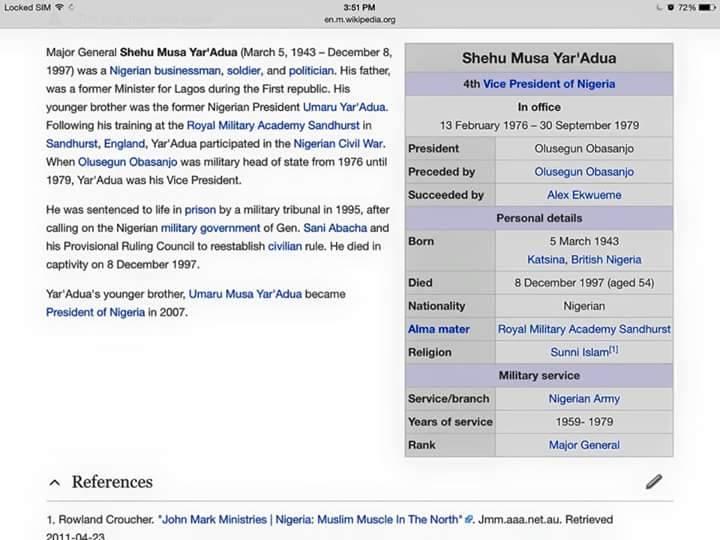 Major General Shehu Musa Yar'Adua - on wikipedia