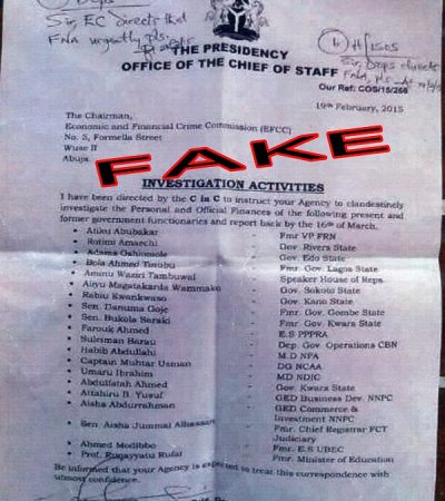 EFCC ALERT!Fake Letter From President Jonathan's Chief of Staff in Circulation