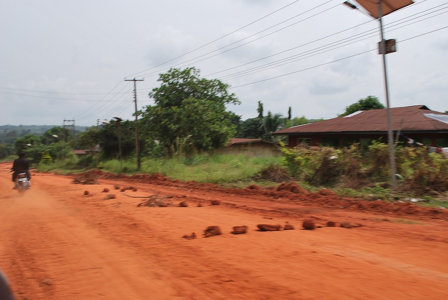 Dusty roads leading to the community