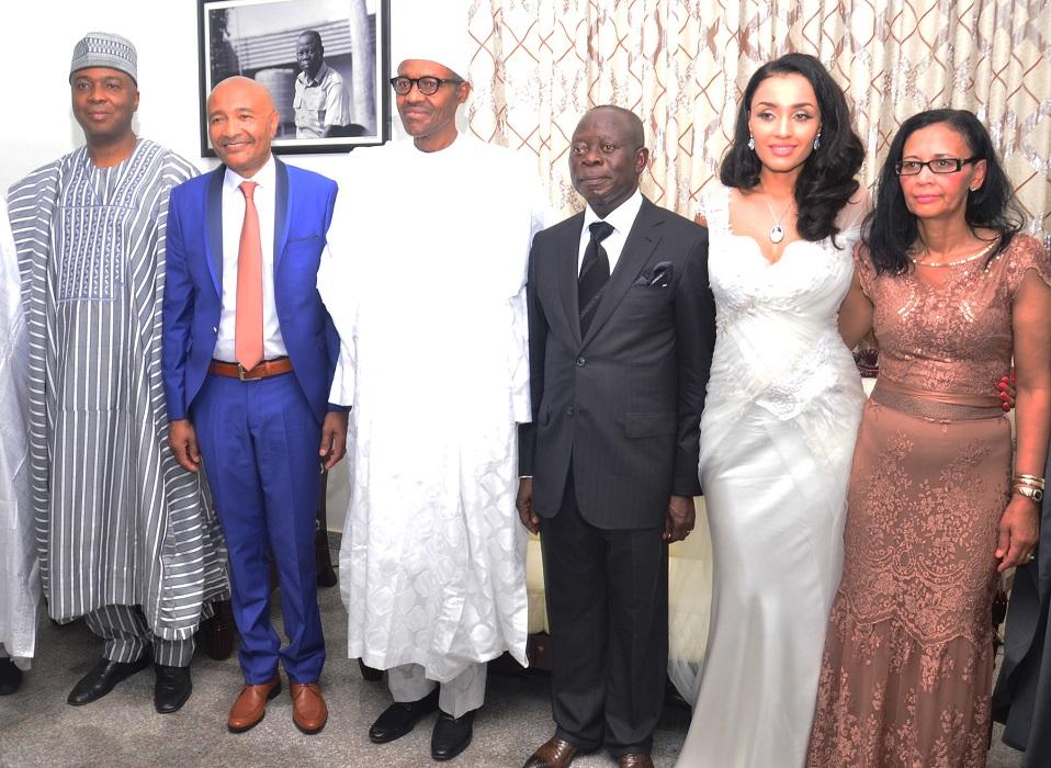 From left:  Senator Bukola Saraki; Mrs Fotes, father of the bride; President-elect, Muhammadu Buhari; Governor Adams Oshiomhole; his wife, Iara Oshiomhole and Mrs Fortes, mother of the bride.