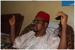Obi Christopher Ogoh I, traditional ruler of the community, answering questions from the team