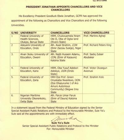 Jonathan Appoints 6 Chancellors, Vice Chancellors