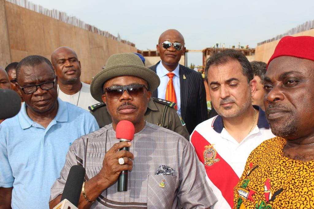 (L-R) Chief Law Chinwuba, Commissioner for Works, Chief Willie Obiano, Governor of Anambra State, Mr. Shaheed El-Ahel, MD IDC Construction Limited and Chief Victor Ikechukwu Oye, the National Chairman of APGA during the governor's inspection of the flyovers under construction in Awka...