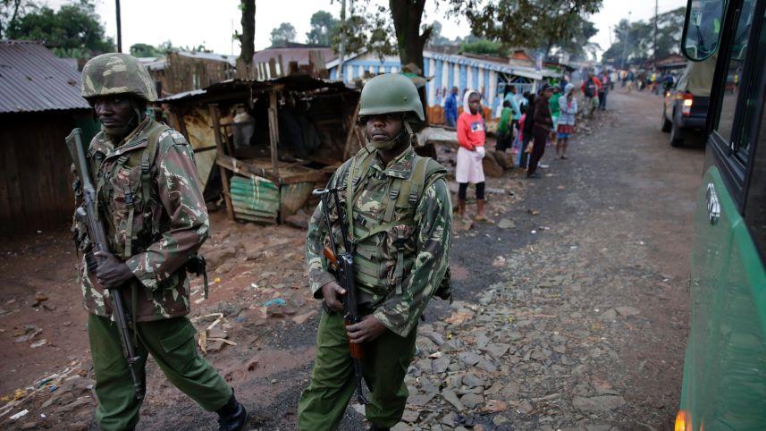 Soldiers patrol the streets of a slum in Nairobi, Kenya, Nov. 27, 2015