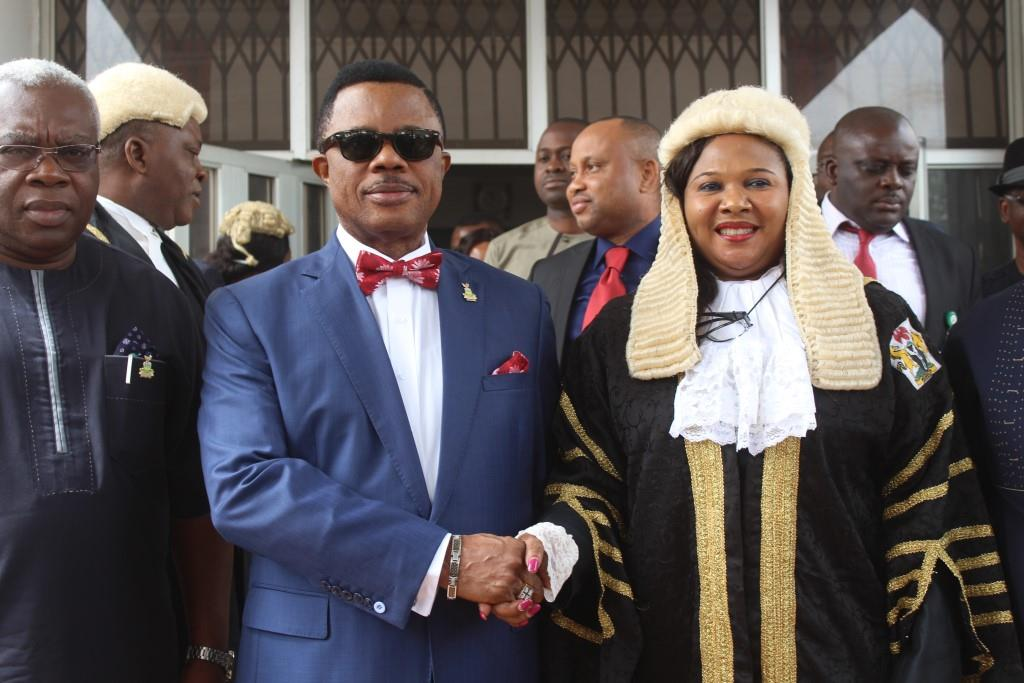 (L-R) Prof Osita Solo Chuekwulobelu, Secretary to the State Government, Chief Willie Obiano, Governor of Anambra State and Hon Mrs. Rita Maduagwu, Speaker, Anambra State House of Assembly during the governor's presentation of the 2016 Budget titled; Budget for Efficiency, Potimization, Productivity and Job Creation in Awka...Thursday