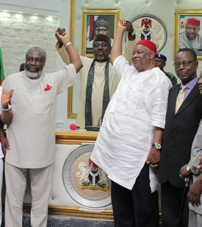Governor Okorocha Reconciles Dr. Ralph Obioha And Chief Gray Enwo-Igariwey Factions Of Ohaneze