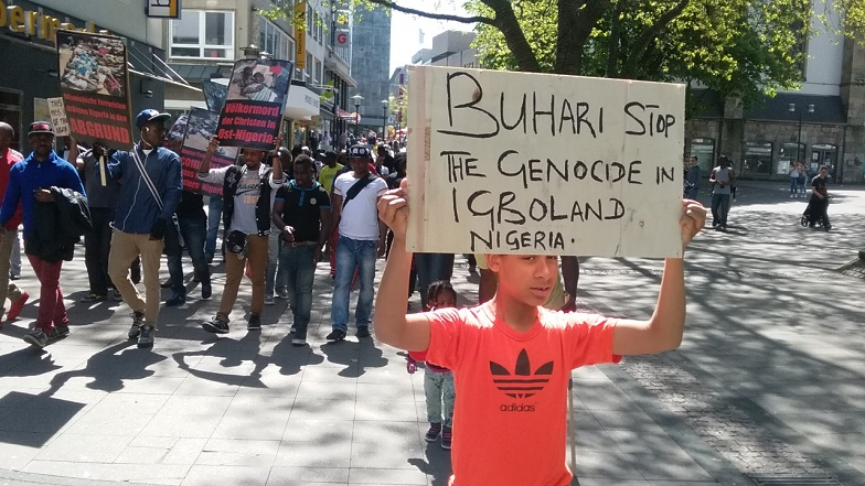 [Photos] Nigerians In Germany Protesting The Fulani Massacre In Enugu