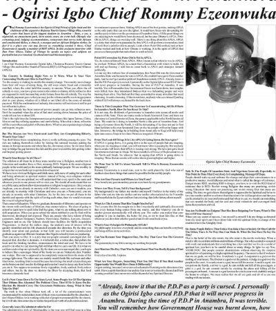 Why I Cursed PDP In Anambra – Ogirisi Igbo Chief Rommy Ezeonwuka