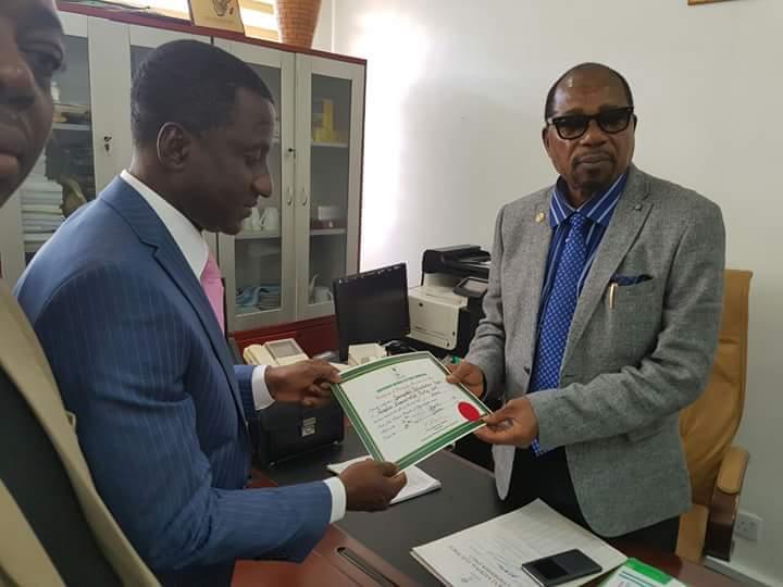 Ogah receiving the Certificate of return