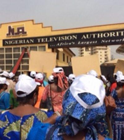 Protesters Storm NTA, CBN, Say Buhari's Not Dead