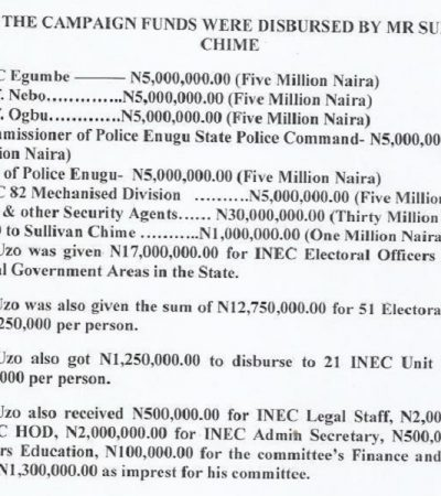 "N450 million PDP Campiagn Fund For Enugu: ""How Campaign Funds Shared By Chime"""
