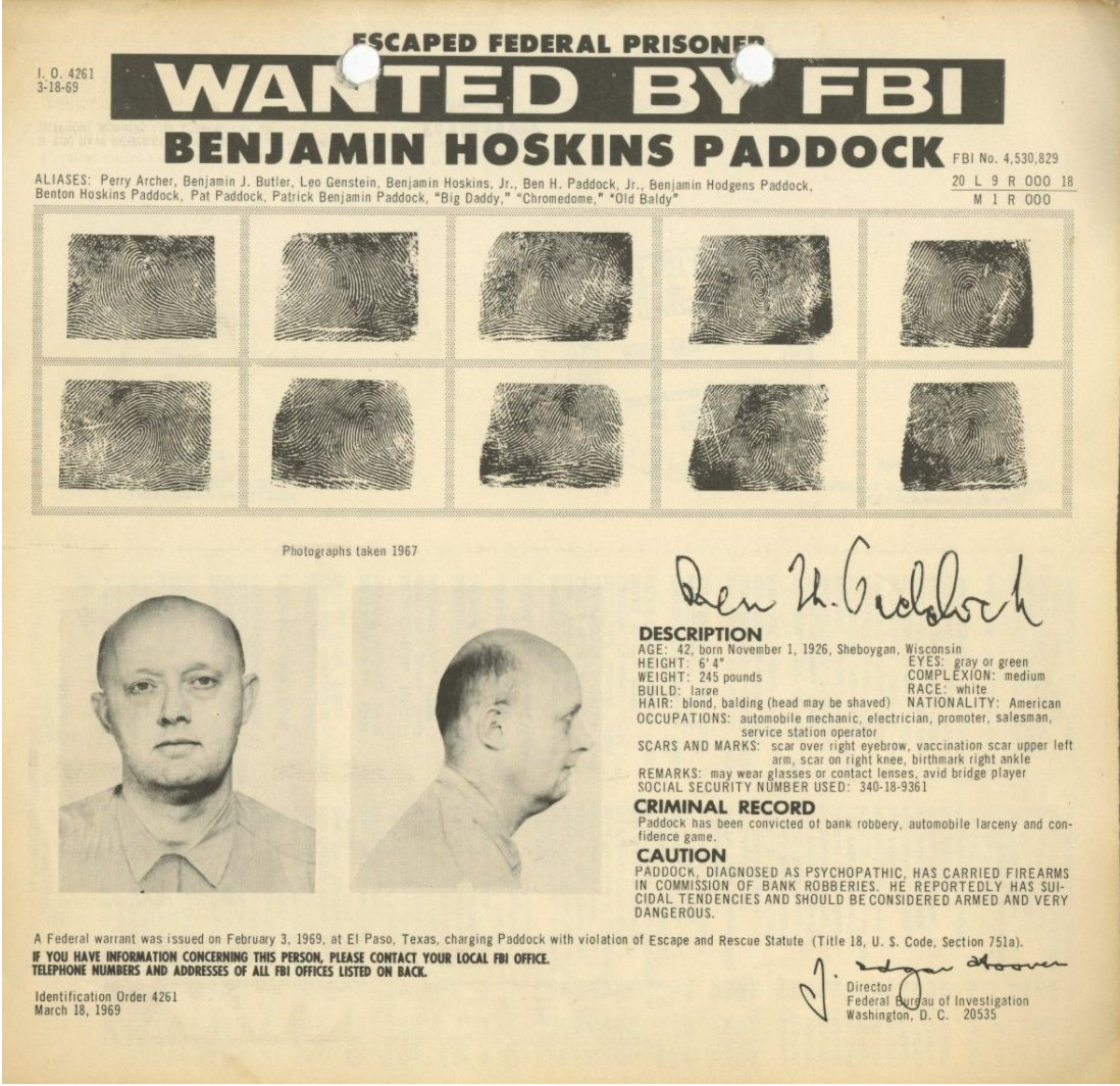 Las Vegas Shooting Suspect Stephen Paddock's Father Was Apparently on the FBI's Most-Wanted List After Prison Escape