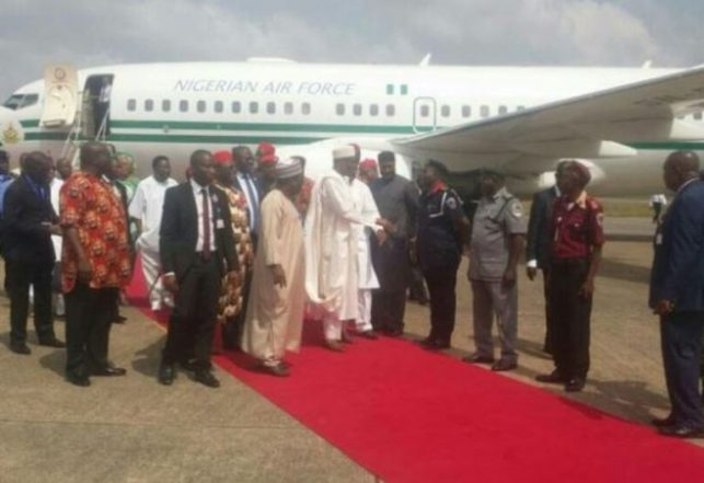 [Photos] Buhari Arrives Enugu Airport