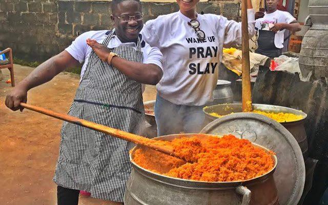 Nollywood Actress, Tonto Dikeh Joins Kokun Foundation, Cooks Massive Pots Of Rice For Charity (Photos)
