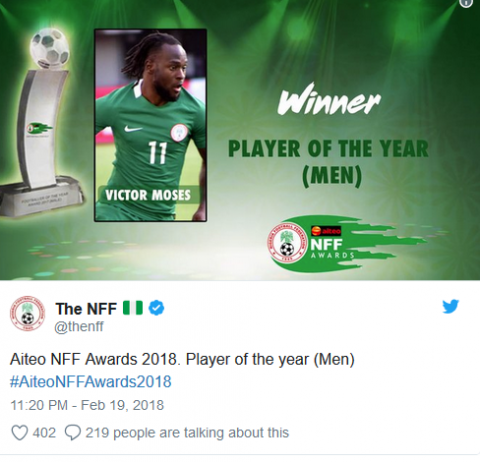 Moses thankful for Nigerian Player of the Year Award