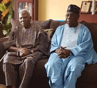 Obasanjo Visits Afenifere Leader, Fasoranti In Akure After 20 Years