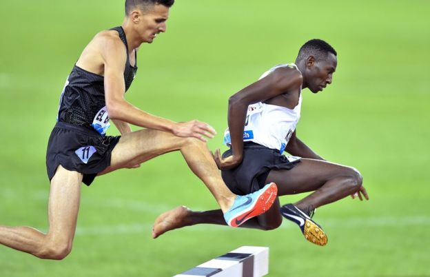 "Conseslus Kipruto (R) of Kenya is on his way to win the men""s 3,000m Steeplechase race during the Weltklasse IAAF Diamond League international athletics meeting in Zurich"