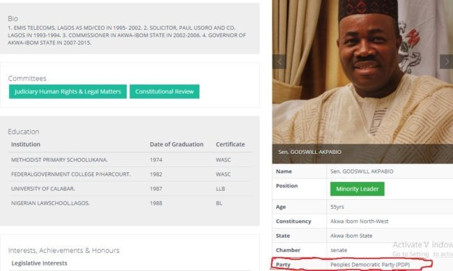 Weeks After Joining APC, Akpabio's Profile On NASS Website Still Reads PDP