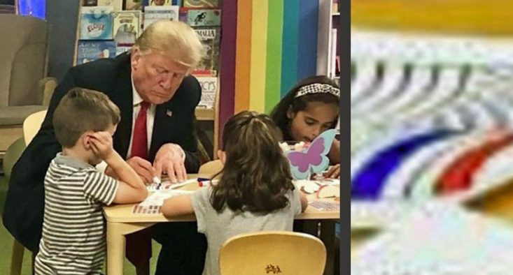 Trump managed to botch a photo-op with Ohio kids by coloring his American flag wrong