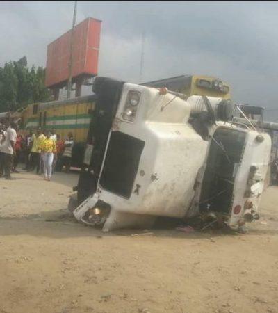 Train crushes truck driver in Aba