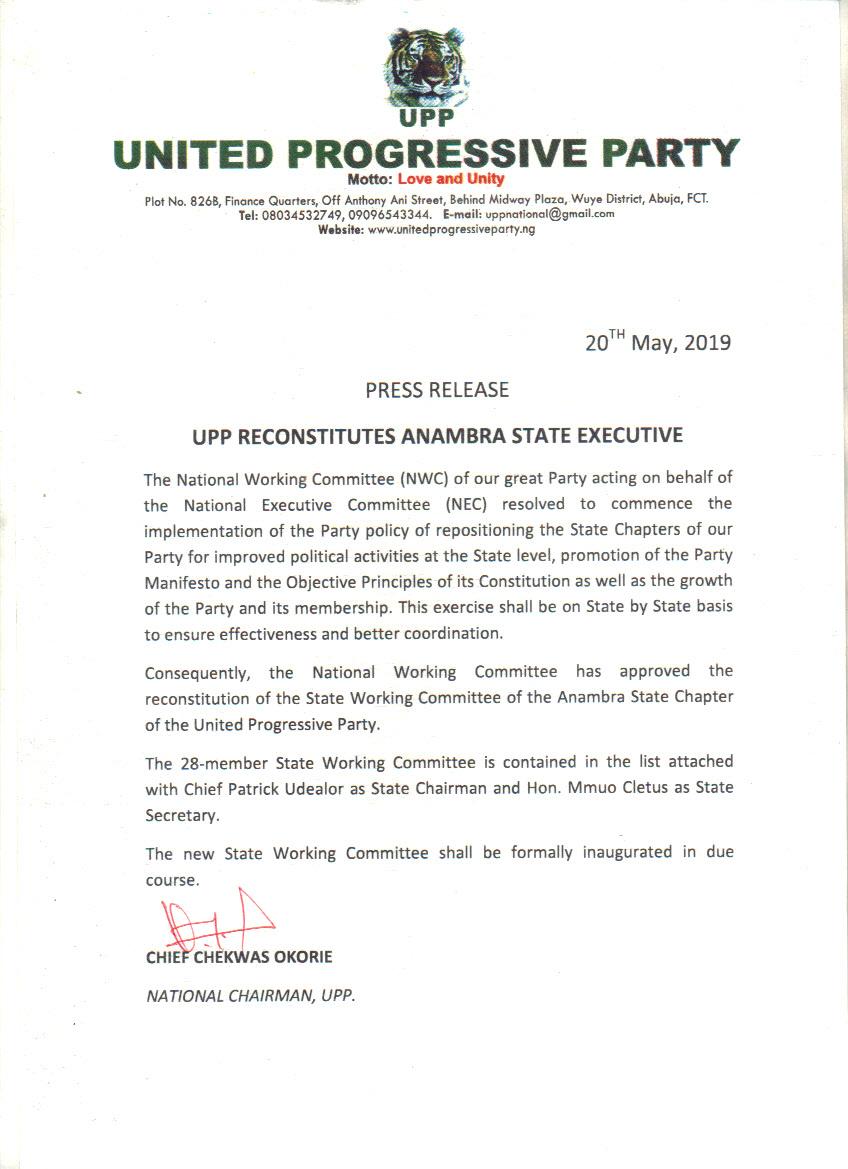 UPP Reconstitutes Anambra State Executive