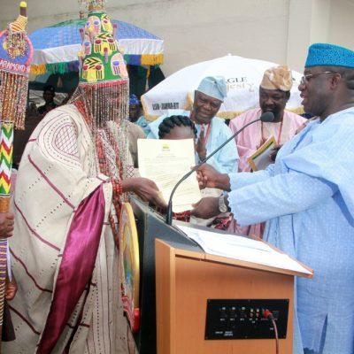 Fayemi presents staff of office to new Ekiti monarch