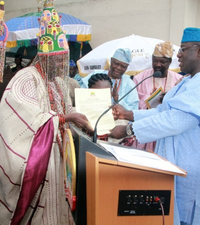 Fayemi presents staff of office to new Ekiti monarch