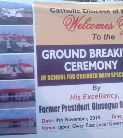 Obasanjo Lays Foundation Of School For The Needy In Benue, Lauds Church, Govt's Synergy On Devt.